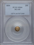 California Fractional Gold: , 1854 25C Liberty Octagonal 25 Cents, BG-105, R.3, MS64 PCGS. PCGSPopulation (69/27). NGC Census: (8/8). (#10374)...