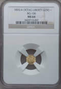 California Fractional Gold: , 1855/4 25C Liberty Octagonal 25 Cents, BG-106, R.3, MS64 NGC. NGCCensus: (11/9). PCGS Population (36/14). (#10375)...