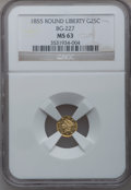 California Fractional Gold: , 1855 25C Liberty Round 25 Cents, BG-227, R.6, MS63 NGC. NGC Census:(1/2). PCGS Population (21/6). (#10412)...