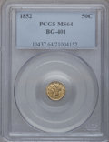 California Fractional Gold: , 1852 50C Liberty Round 50 Cents, BG-401, R.3, MS64 PCGS. PCGSPopulation (10/3). NGC Census: (2/1). (#10437)...