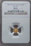 California Fractional Gold: , 1872 25C Indian Octagonal 25 Cents, BG-791, R.3, MS64 NGC. NGCCensus: (15/7). PCGS Population (94/17). (#10618)...