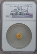 California Fractional Gold: , 1871 25C Liberty Round 25 Cents, BG-813, R.3, -- Improperly Cleaned-- NGC Details. Unc. NGC Census: (0/21). PCGS Populatio...