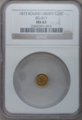 California Fractional Gold: , 1873 25C Liberty Round 25 Cents, BG-817, R.3, MS63 NGC. NGC Census:(11/23). PCGS Population (66/70). (#10678)...