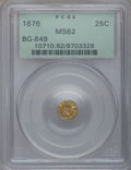 California Fractional Gold: , 1876 25C Indian Round 25 Cents, BG-849, High R.5, MS62 PCGS. PCGSPopulation (3/17). NGC Census: (0/1). (#10710)...