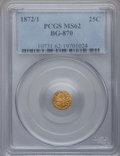 California Fractional Gold: , 1872/1 25C Indian Round 25 Cents, BG-870, R.3, MS62 PCGS. PCGSPopulation (25/167). NGC Census: (10/10). (#10731)...