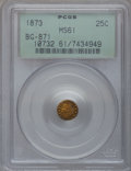 California Fractional Gold: , 1873 25C Indian Round 25 Cents, BG-871, High R.6, MS61 PCGS. PCGSPopulation (2/12). NGC Census: (0/1). (#10732)...
