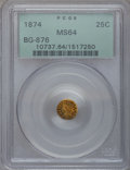 California Fractional Gold: , 1874 25C Indian Round 25 Cents, BG-876, Low R.4, MS64 PCGS. PCGSPopulation (39/15). NGC Census: (1/1). (#10737)...