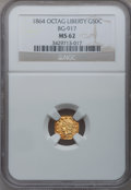 California Fractional Gold: , 1864 50C Liberty Octagonal 50 Cents, BG-917, R.4, MS62 NGC. NGCCensus: (3/1). PCGS Population (18/7). (#10775)...