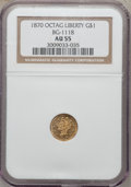 California Fractional Gold: , 1870 $1 Goofy Head Octagonal 1 Dollar, BG-1118, Low R.5, AU55 NGC.NGC Census: (1/3). PCGS Population (11/23). (#10929)...