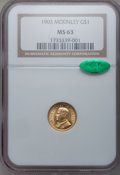 Commemorative Gold: , 1903 G$1 Louisiana Purchase/McKinley MS63 NGC. CAC. NGC Census:(268/1351). PCGS Population (547/1897). Mintage: 17,500. Nu...