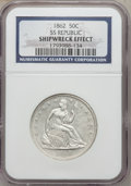 Seated Half Dollars, 1862 50C SS Republic Shipwreck Effect NGC. Display box and COA areincluded....