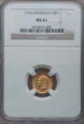 Commemorative Gold: , 1916 G$1 McKinley MS61 NGC. NGC Census: (97/2209). PCGS Population(108/4063). Mintage: 9,977. Numismedia Wsl. Price for pr...