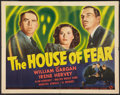 "Movie Posters:Crime, The House of Fear (Universal, 1939). Half Sheet (22"" X 28""). Crime.. ..."