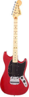 1978 Fender Mustang Trans Red Solid Body Electric Guitar, Serial #S827513