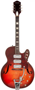 Musical Instruments:Electric Guitars, 1960's Silvertone H1454 Sunburst Semi-Hollow Body ElectricGuitar....