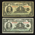 Canadian Currency: , BC-1 $1 1935 Two Examples.. ... (Total: 2 notes)