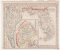 """Books:Maps & Atlases, 1867 Partially Hand-Colored County Maps of Florida, North Carolina and South Carolina. 12.25"""" x 14.5"""", published by S. Augus..."""
