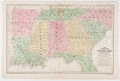 "Books:Maps & Atlases, 1839 Hand-Colored Engraved ""Map of the Chief Part of the SouthernUnited States and Part of the Western."" 17.5"" x 11.75"", en..."