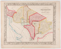 """Books:Maps & Atlases, 1861 Hand-Colored Engraved """"Plan of the City of Washington. The Capitol of the United States of America."""" 15.5"""" x 12.25"""", [W..."""