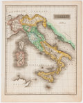 """Books:Maps & Atlases, Nathaniel and Simeon Smith Jocelyn. Hand-Colored Engraved Map ofItaly, Circa 1825. 9"""" x 11"""", from A New Universal Atlas o..."""
