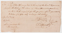 """Revolutionary War Period Pay Order For Procuring Lead Signed by Oliver Ellsworth and Titus Hosmer. 8.5"""" x 4.5""""..."""