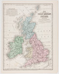 """Books:Maps & Atlases, Hand-Colored Map of Great Britain and Ireland, Circa 1852. 9"""" x 11.75"""", from Mitchell's School and Family Geography, Phi..."""