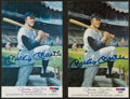 Baseball Collectibles:Others, Mickey Mantle Signed Postcards Lot of 2. ...