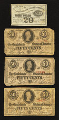 Confederate Notes:1863 Issues, T63 50 Cents 1863. Three Examples, plus a Confederate $20 BondCoupon.. ... (Total: 4 notes)
