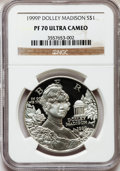 Modern Issues: , 1999-P $1 Dolley Madison Silver Dollar PR70 Ultra Cameo NGC. NGCCensus: (417). PCGS Population (270). Numismedia Wsl. Pri...