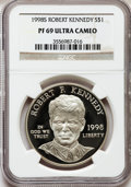 Modern Issues: , 1998-S $1 Robert F. Kennedy Silver Dollar PR69 Ultra Cameo NGC. NGCCensus: (1164/58). PCGS Population (990/33). Numismedi...