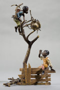 Bronze:European, AN AUSTRIAN COLD-PAINTED BRONZE FIGURAL GROUP: BOYS IN TREE. 20th century . 8 inches high (20.3 cm). ...