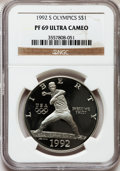 1992-S $1 Olympic Silver Dollar PR69 Ultra Cameo NGC. NGC Census: (2070/21). PCGS Population (1833/48). Mintage: 504,505...