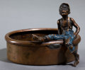Bronze:European, AN AUSTRIAN COLD-PAINTED BRONZE AND MIXED METAL FIGURE: BOY ONRIM OF TUB . 20th century . 2-5/8 inches high (6.7 cm...