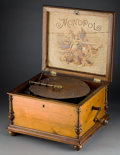 Clocks & Mechanical:Music Boxes, A MONOPOL WOOD-CASED MUSIC BOX FOR THE AUTOMATIC MUSICAL NOVELTY COMPANY . Circa 1900. Marks: MONOPOL, GERMAN MANUFACTURE,...