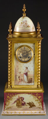 A ROYAL VIENNA PORCELAIN AND GILT BRONZE MANTLE CLOCK Circa 1900 Marks: (beehive), AUSTRIA, 312