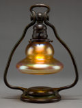 Art Glass:Tiffany , A TIFFANY STUDIOS BRONZE DESK LAMP WITH FAVRILE GLASS SHADE . Circa1900 . Marks to base: TIFFANY STUDIOS, NEW YORK, 418;... (Total:2 Items)