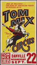 """Movie Posters:Western, Tom Mix Circus Poster (Tom Mix, 1937). Circus Poster (28"""" X 41"""") with Attached Date and Place Snipe (9.75"""" X 28"""") Flat Folde..."""