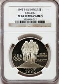 Modern Issues: , 1995-P $1 Olympic/Cycling Silver Dollar PR69 Ultra Cameo NGC. NGCCensus: (1269/22). PCGS Population (1330/38). Numismedia...