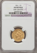 Three Dollar Gold Pieces, 1861 $3 -- Obverse Graffiti -- NGC Details. AU....