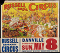 """Movie Posters:Miscellaneous, Circus Poster (Russell Brothers, 1938). Poster (28"""" X 41"""") and Attached Date and Place Snipe (10.5"""" X 41.5""""). Miscellaneous...."""