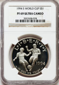 Modern Issues: , 1994-S $1 World Cup Silver Dollar PR69 Ultra Cameo NGC. NGC Census: (10/0). PCGS Population (2183/76). Mintage: 576,978. Nu...
