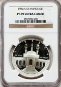 Modern Issues: , 1984-S $1 Olympic Silver Dollar PR69 Ultra Cameo NGC. NGC Census: (3600/102). PCGS Population (3507/58). Mintage: 1,801,210...
