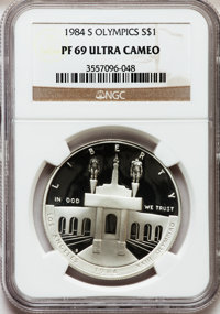 1984-S $1 Olympic Silver Dollar PR69 Ultra Cameo NGC. NGC Census: (2935/87). PCGS Population (3113/42). Mintage: 1,801,2...