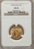 Indian Half Eagles: , 1908 $5 MS64 NGC. NGC Census: (824/158). PCGS Population (730/223).Mintage: 577,800. Numismedia Wsl. Price for problem fre...