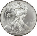 Errors, 1999 Silver Eagle -- Reverse Strike-Through Plastic -- MS66 NGC.... (Total: 2 pieces)