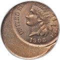 1908 1C Indian Cent -- Struck 35% Off Center -- MS64 Brown PCGS