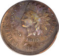1865 1C Fancy 5 Indian Cent -- Double Struck, Second Strike 20% Off Center -- VF20 PCGS