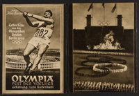 """Olympia Part I & II (Tobis, 1936). German Programs (2) (6 Pages & 8 Pages, 8.75"""" X 11.5""""). Documentary..."""