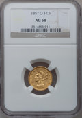 Liberty Quarter Eagles, 1857-O $2 1/2 AU58 NGC....