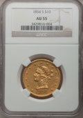 Liberty Eagles, 1854-S $10 AU55 NGC....